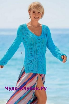 схема Ажурный пуловер вязаный спицами 1866