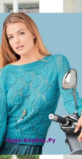 схема Короткий пуловер вязаный спицами 1875