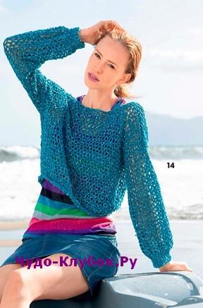 схема Короткий сетчатый пуловер вязаный спицами и крючком 1856