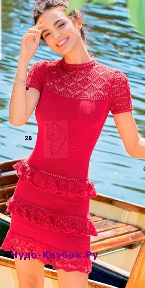схема Красное платье с кружевными оборками вязаное спицами и крючком 858
