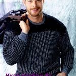 Muzhskoj pulover s dvuhtsvetnym uzorom vyazanyj spitsami 396