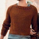 Muzhskoj pulover s rukavami reglan vyazanyj spitsami 399
