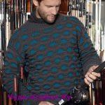 Muzhskoj pulover s uzorom soty vyazanyj spitsami 400