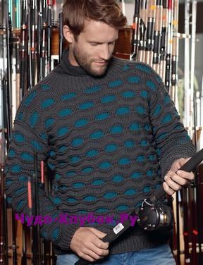 схема Мужской пуловер с узором соты вязаный спицами 400