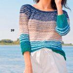Polosatyj pulover s krugloj koketkoj vyazanyj spitsami 1863
