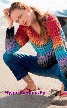 схема Полосатый пуловер вязаный крючком 1857