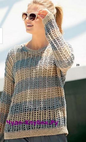 схема Пуловер  с сетчатым узором вязаный спицами 1879