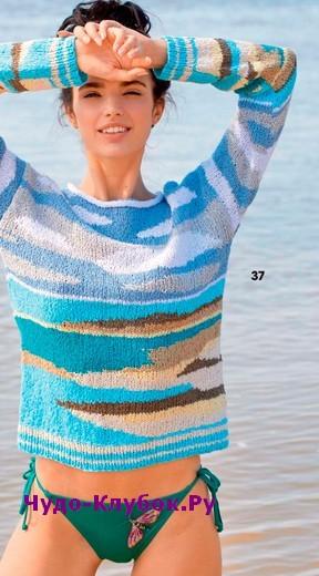 схема Разноцветный пуловер вязаный спицами 1861