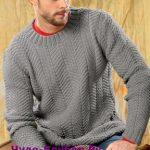 Seryj muzhskoj pulover vyazanyj spitsami 398