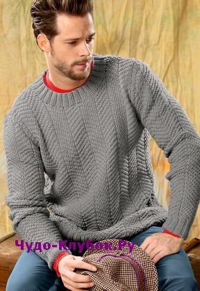 схема Серый мужской пуловер вязаный спицами 398