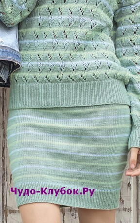 схема Узкая прямая юбка вязаная спицами 169