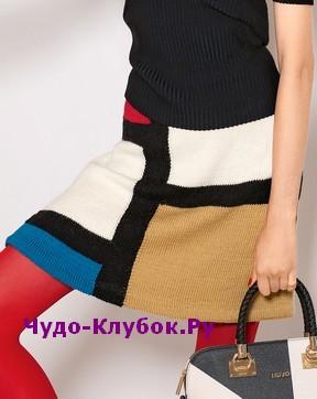 YUbka v stile kolor blok vyazanaya spitsami 165