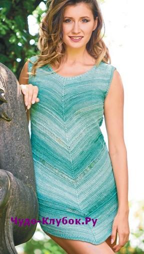 схема Зеленое меланжевое платье вязаное спицами 851