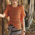 схема Ажурный пуловер с вырезом-лодочкой вязаный спицами 1918