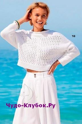схема Белый короткий пуловер вязаный спицами 1886