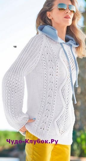 схема Белый пуловер с рукавами буф вязаный спицами 1900