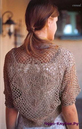 фото Болеро сеточкой вязаное крючком 3