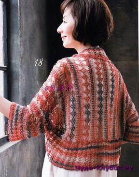 фото Цветное болеро с ромбами вязаное крючком 6