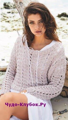 схема Короткий пуловер с узором из сквозных дорожек вязаный спицами 1914