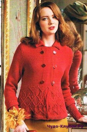 фото Красная кофта с ажурным низом вязаная спицами 42