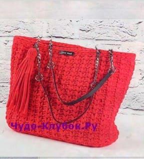 схема Красная сумка с кисточкой вязаная крючком 232