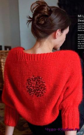 фото Красное болеро с узором на спине вязаное спицами 1