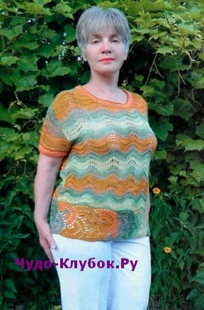 схема Летний пуловер с зигзагообразным узором вязаный спицами и крючком 1905