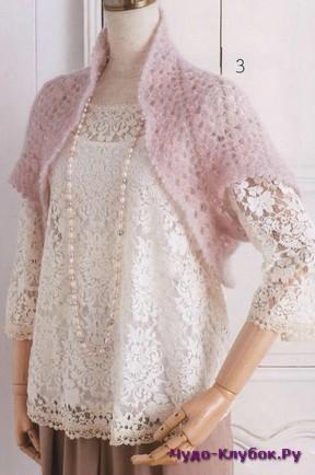 фото Нежно розовое болеро вязаное спицами 7