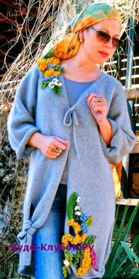 схема Пальто авангардной формы с декором вязаное спицами 155