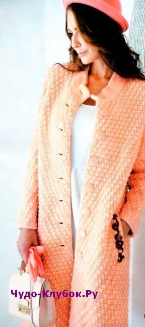 схема Пальто классического кроя вязаное спицами и крючком 157