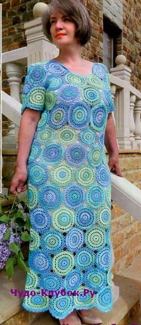 схема Платье из ажурных кругов вязаное крючком 879