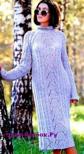 схема Платье из буклированной пряжи вязаное спицами 882