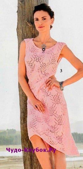 схема Платье с фантазийным узором вязаное спицами 895