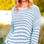схема Полосатый пуловер в стиле оверсайз вязаный спицами 1910