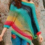 схема Разноцветный пуловер асимметричного кроя вязаный спицами 1920