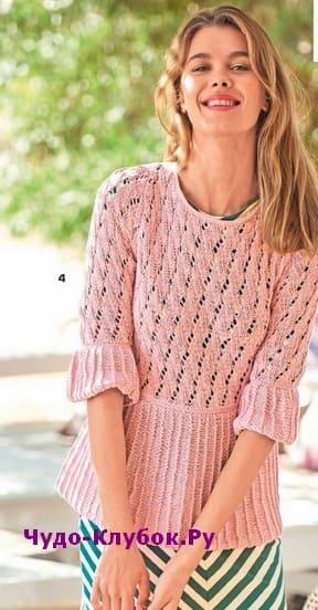 схема Розовый пуловер с оборками вязаный спицами и крючком 1895