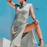 схема Вечернее платье со шнуровкой в области декольте вязаное спицами и крючком 899