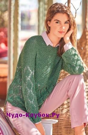 схема Зеленый пуловер с круглой кокеткой вязаный спицами 1893