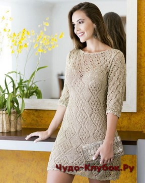 фото Бежевое платье спицами