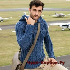 фото Мужской пуловер с капюшоном