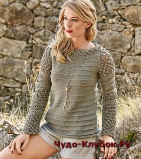 фото Пуловер с узором Шишечки спицами