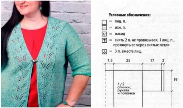 biryuzovyj kardigan vyazanyj spiczami i kryuchkom 1227