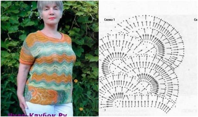 letnij pulover s zigzagoobraznym uzorom vyazanyj spiczami i kryuchkom 1905