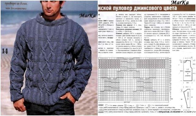 muzhskoj pulover dzhinsovogo czveta vyazanyj spiczami 6