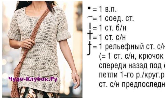 pulover s vyazanym remnem vyazanyj spiczami i kryuchkom 1835