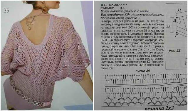 пуловер вязаный крючком 1