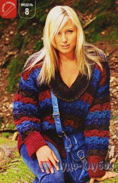 vyazanyj spiczami zhenskij pulover 12