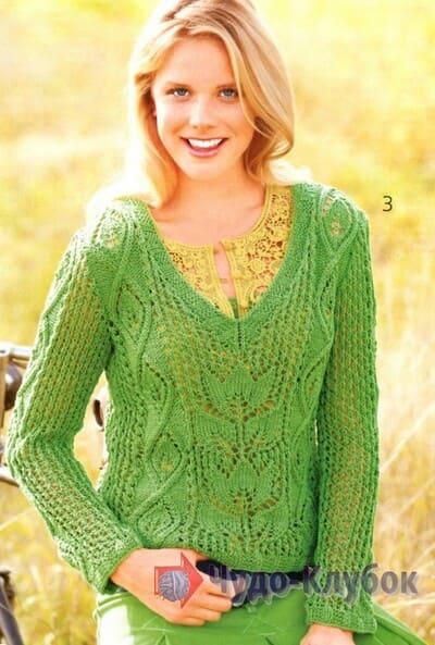 vyazanyj spiczami zhenskij pulover 31
