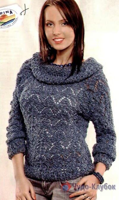 vyazanyj spiczami zhenskij pulover 4