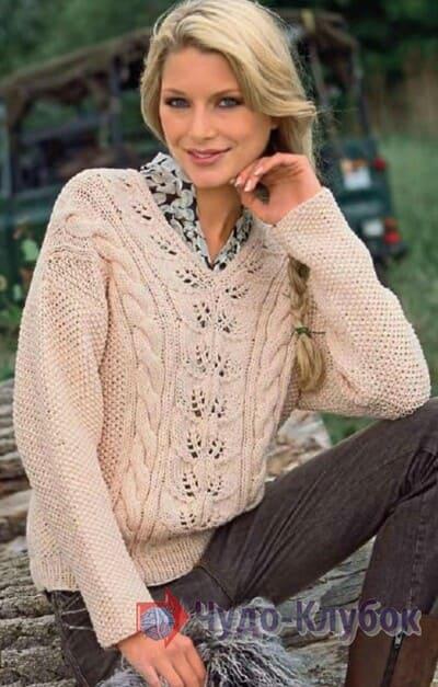 vyazanyj spiczami zhenskij pulover 42